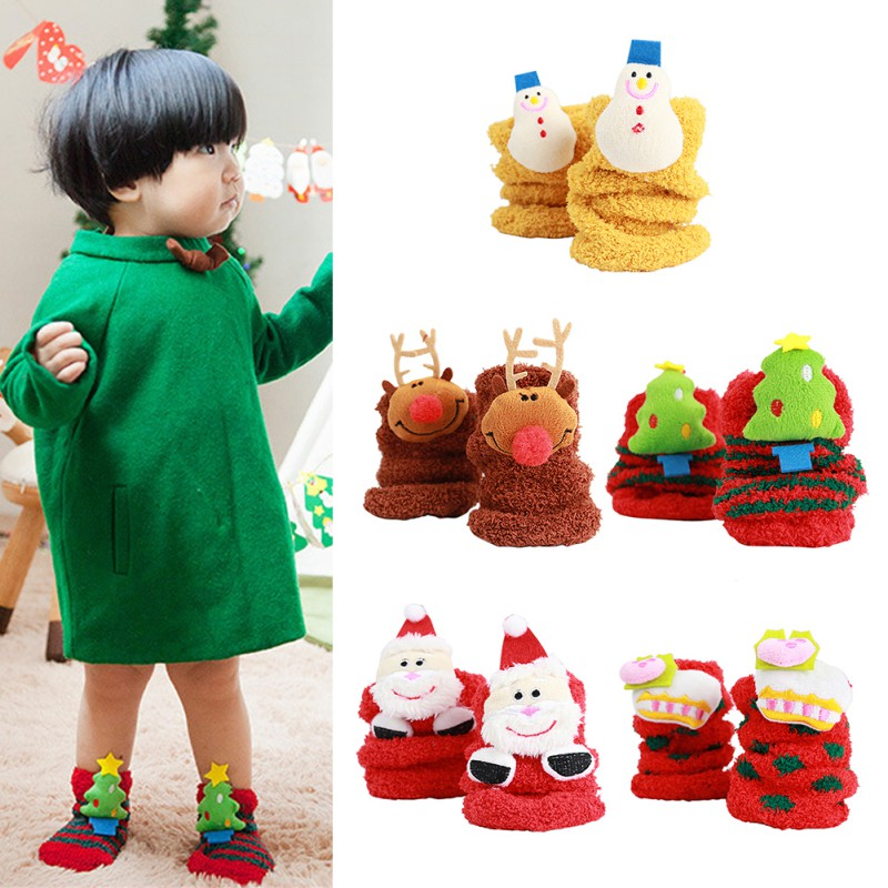 Christmas Gifts Winter Baby Sock Warm Stereo Socks Soft Cotton Cute Santa Claus Deer Socks Xmas Christmas Socks