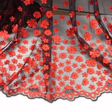 1Yard 91*136cmAfrican Tulle Satin Sequins Lace FabricRed French Swiss Wedding Dress Tissue Floral Diy Material Cloth Tecido