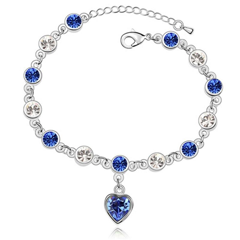 Coeur Bleu Cristal Bracelet Pour Les Femmes 2017 Nouvelle Mode Bracelets En Cristal de Swarovski Blanc