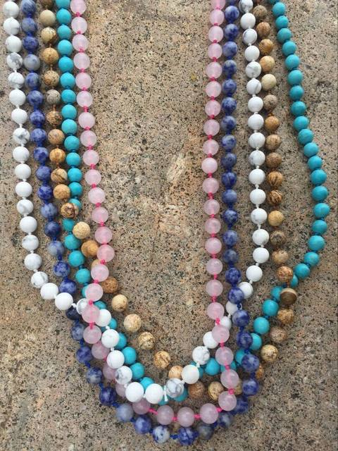 Fashion Women Semi-precious Luxe Collection Natural Stone Beads Knotted Long Chain Wrap Wrap Necklace for Women