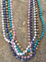 Fashion Women Semi Precious Luxe Collection Natural Stone Beads Knotted Long Chain Wrap Wrap Necklace For
