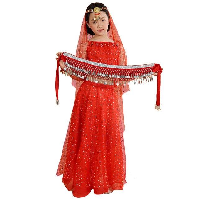 d5f2c989940d Bambini Vestiti di Danza Del Ventre Set Le Ragazze Vestiti Indiani per I Bambini  Danza Orientale