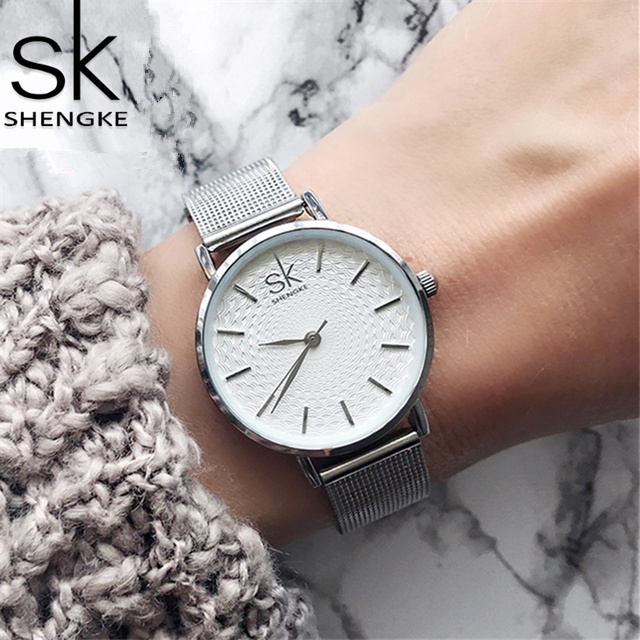 Shengke Sliver Mesh Stainless Steel Watches Women Top Brand Luxury Casual Clock Ladies Wrist Watch Lady Relogio Feminino SK shengke top brand quartz watch women casual fashion leather watches relogio feminino 2018 new sk female wrist watch k8028