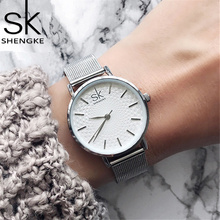 Shengke Sliver Mesh Stainless Steel Watches Women Top Brand Luxury Casual Clock Ladies Wrist Watch Lady Relogio Feminino SK цена и фото