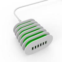 New 6 USB Multi Ports Charging Station Smart Adaptive 7A Desktop Universal Fast Charger UK EU