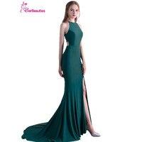 Dark Green Abendkleider 2017 Mermaid Sexy Evening Dresses Long Satin With Slit Abiye Robe De Soiree