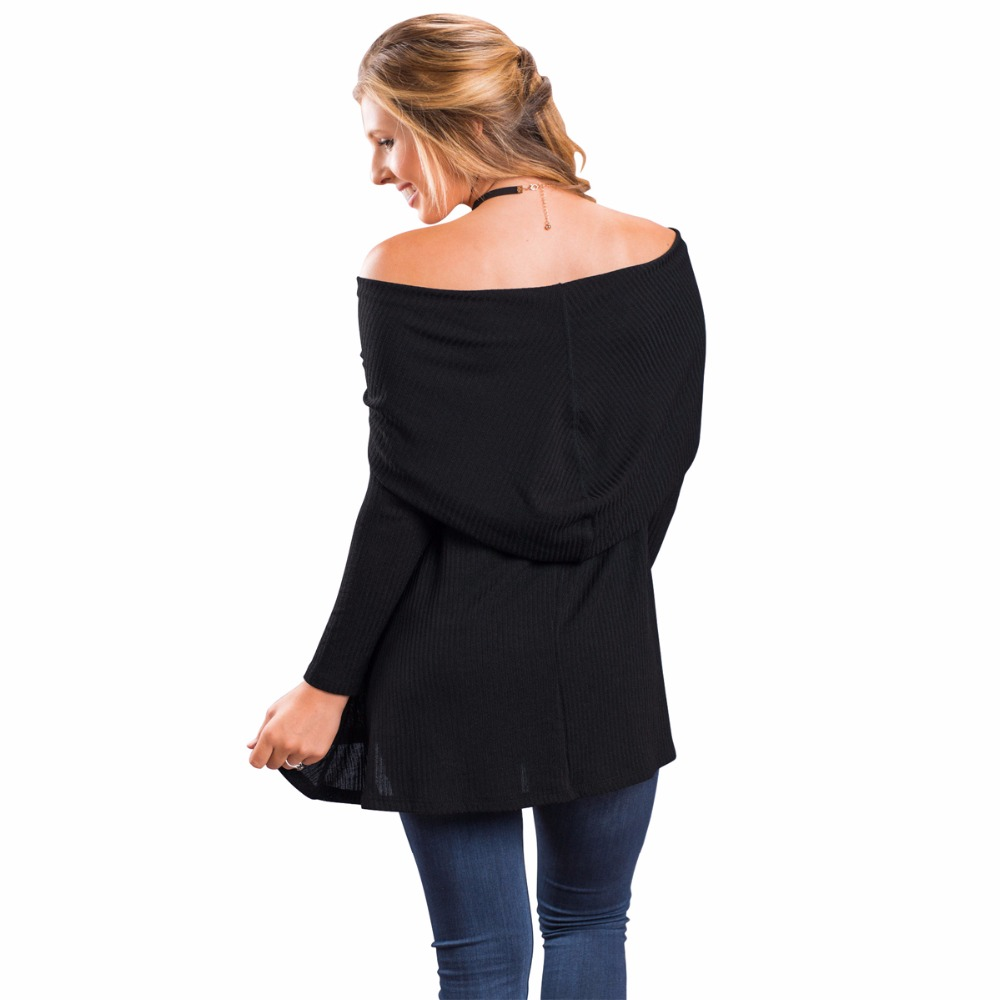 Fashion Women Black Slash Neck Thin Knittwear Off Shoulder Sweater ...