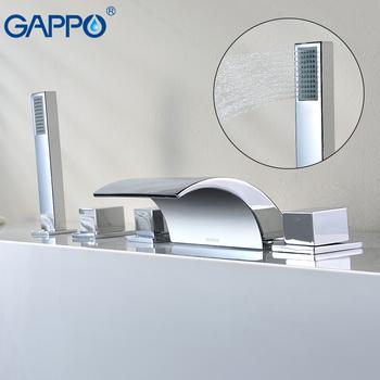 Bateria wannowa GAPPO wodospad wanna kran chrome prysznic kran do łazienki dotknij wanny mikser robinet baignoire tanie i dobre opinie Współczesna GLD2003 Zimnej i Ciepłej Podwójny uchwyt podwójna kontrola ceramic Trzyosobowy uchwyt Galwaniczne waterfall tub