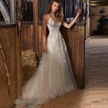 Long A Line Boho Beach Wedding Dress Appliques Sexy Deep V Neck Backless Spaghetti Straps Tulle Bridal Gown Vestido De Noiva
