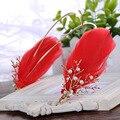 Chinese noiva tiara headband Feather forma esqueleto liga imitação pérola cabelo hoop cabelo por atacado