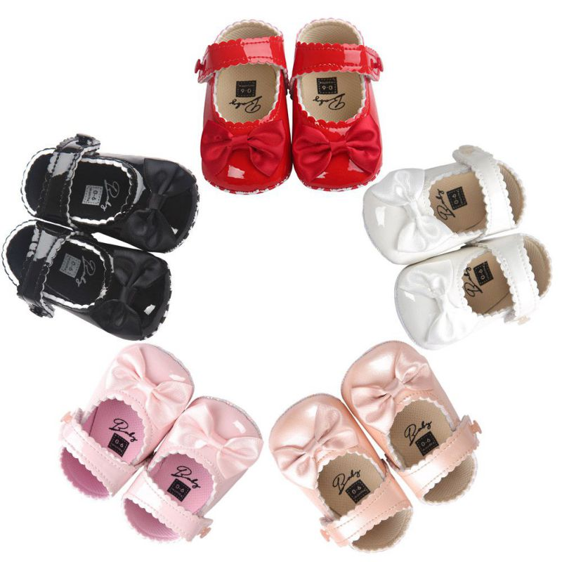 2018 Infant Baby Girls First Walkers Soft Sole PU Leather Bebe Crib Bow Shoes Moccasins Baby Shoes 0-18M