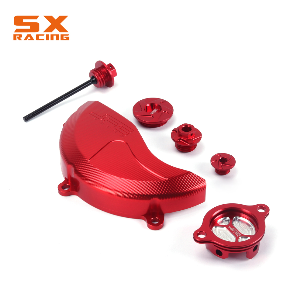 Red Oil Filter Cap Engine Side Cover Magnetic Oil Bolt Timing Set For HONDA CRF450X 2005-2016 CRF250R 2010 2011 2012 2013-2016