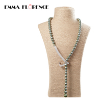 Adjustable Long Pearl Necklace Natural Shell Pearl Beads Pure Colour Silver Hook Necklace Jewelry For Women