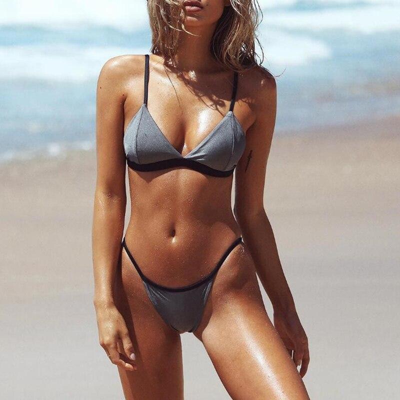 2017 Sexy Swimwear Bikini Set Women Solid Bathing Suit Women Swimwear Triangle biquini  Micro Top brazilian bikini Girl Swimsuit adidas купальник solid triangle bikini