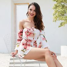 Women Bodysuit Chiffon Summer Sexy Off Shoulder Strapless Floral Print Pleated Loose Playsuit Romper Beach Boho Style Plus Size sexy off shoulder playsuit in random floral pattern