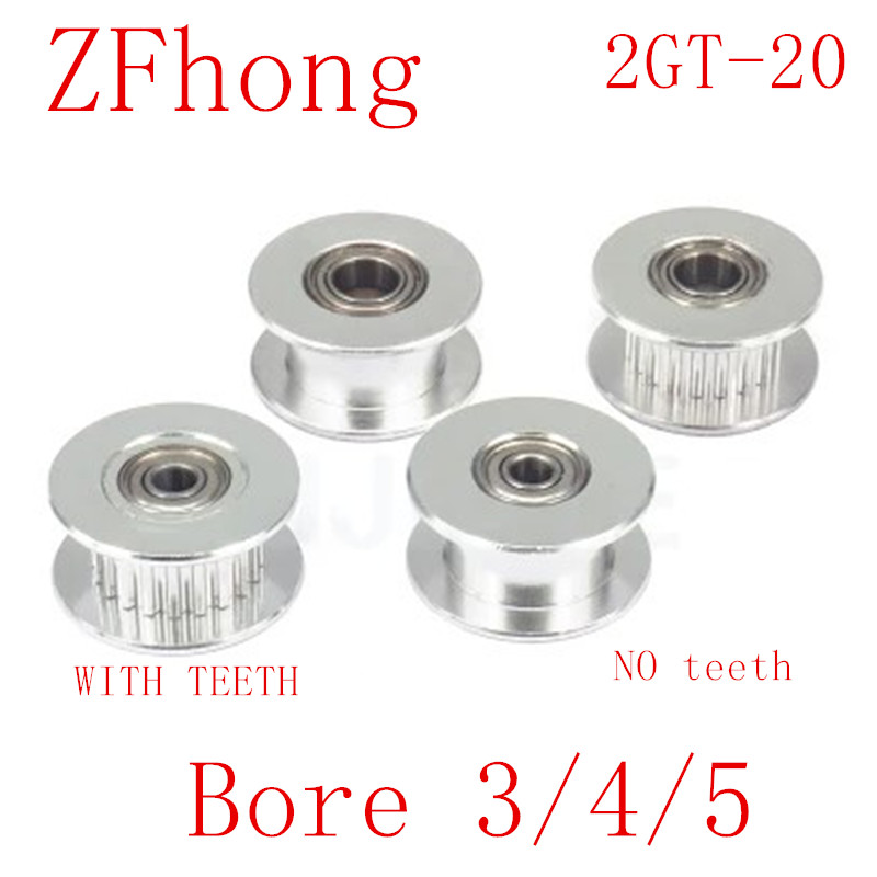 2GT 20 Teeth synchronous Wheel Idler Pulley Bore 3mm 4mm 5mm 8mm with Bearing for GT2 Timing belt Width 6MM(China)