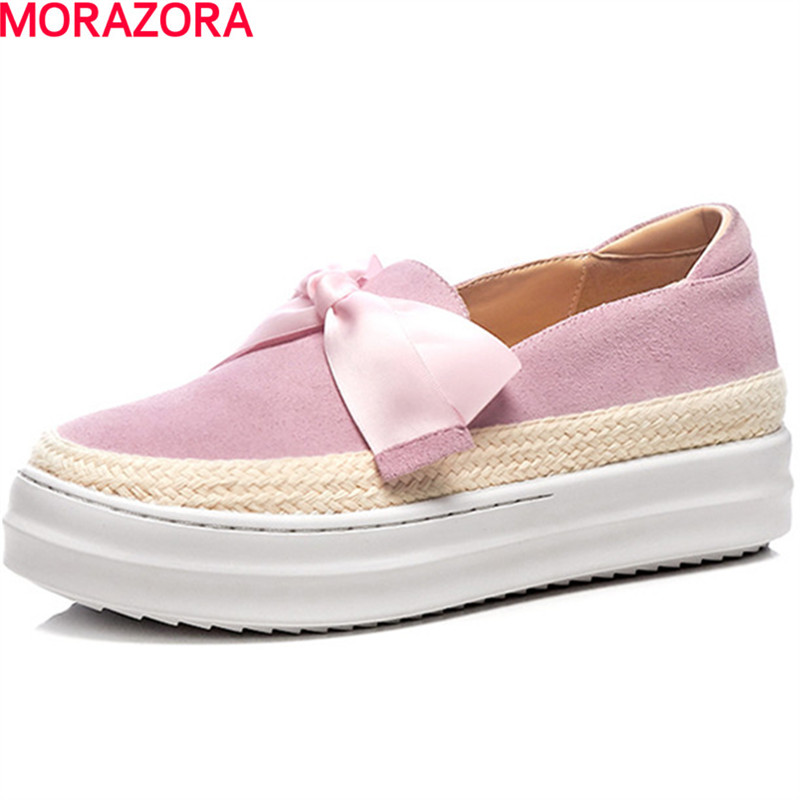 MORAZORA big size 34-43 Flat platform shoes woman fashion lace up bowknot shoes lace-up PU women shoes single spring autumn casual bowknot lace up jazz hat
