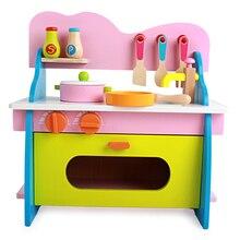 Bébé jouets kid cuisine set de cuisine en bois jouet pour enfants en bois de jeu alimentaire cuisine ensemble rose poêle cadeau de noël