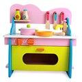 Bebé niño juguetes de cocina set de cocina de juguete de madera para niños de madera de juego comida estufa de cocina rosa de regalo de navidad