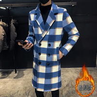 2018 Winter Men's Long Coat Thicken Lattice Printing Cashmere Woolen Blends Overcoat Cotton padded Clothes Snow Jackets M 3XL