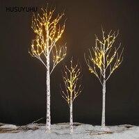 Nuevo HUSUYUHU plata abedul LED luz Festival Navidad decoración moderna interior árbol cálido luz blanca lámpara interfaz