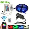 RiRi won SMD RGB LED Strip Light 5050 led Lamp 220V 5M 60led/m diode Flexible Leds tape diode wifi controller DC 12V adapter set