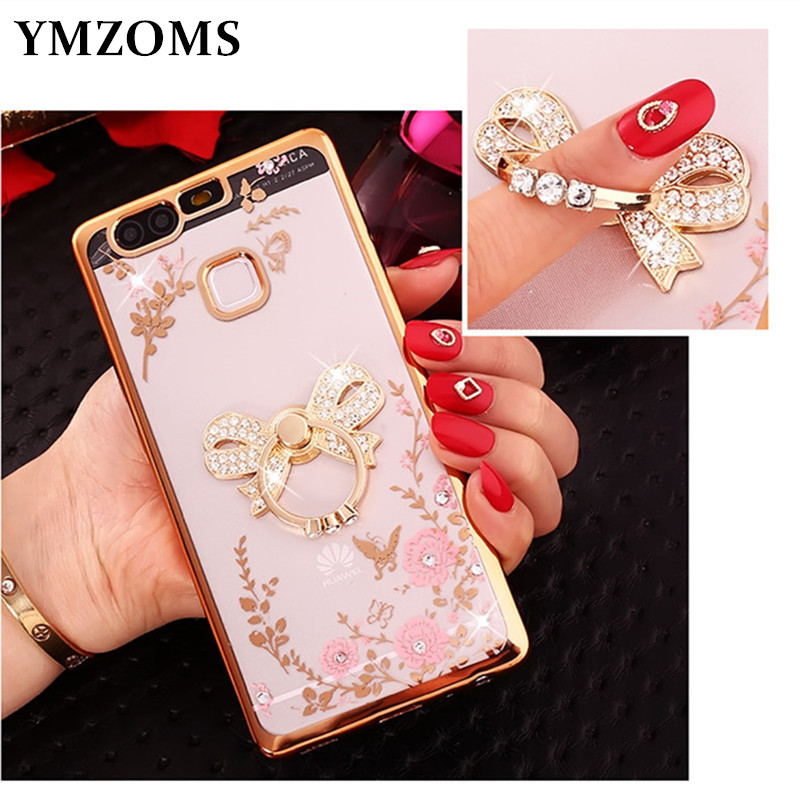 Bling Diamond Case For Huawei P10 P20 Lite Plus P20 Pro Y6 Y9 2018 Honor7 7C Enjoy 8 Finger Ring Kitty Peacock Holder Phone Case
