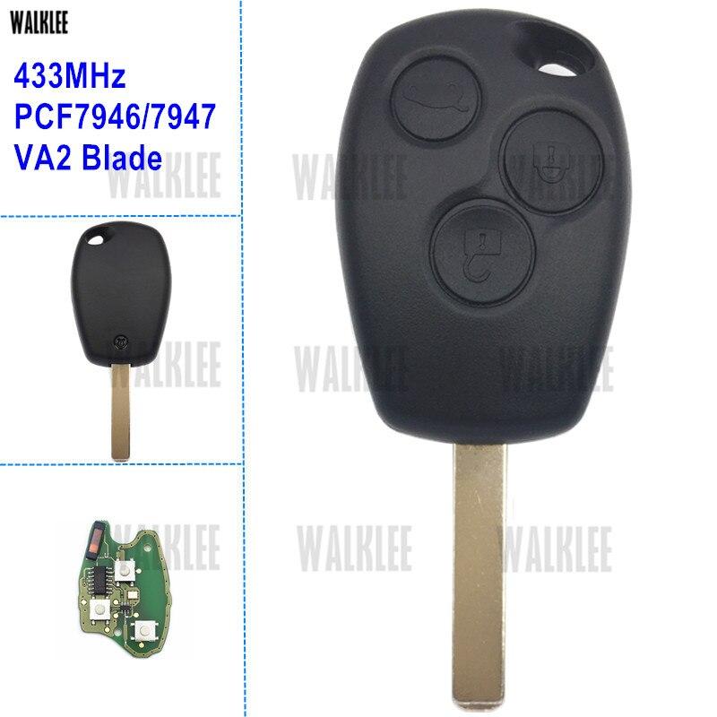WALKLEE Vehicle Remote Key Suit for Renault Clio Scenic Kangoo Megane Keyless Entry Transmitter 433MHz