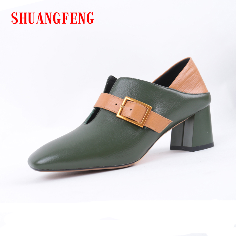 SHUANGFENG High Heels Pumps Women Square Toe 100% Genuine Leather Shoes Woman 2018 Dark Green Ladies Shoes chaussure femme sexy high heels shoes woman pu leather pumps high heel wedding shoes ladies square heels office shoes chaussure femme talon