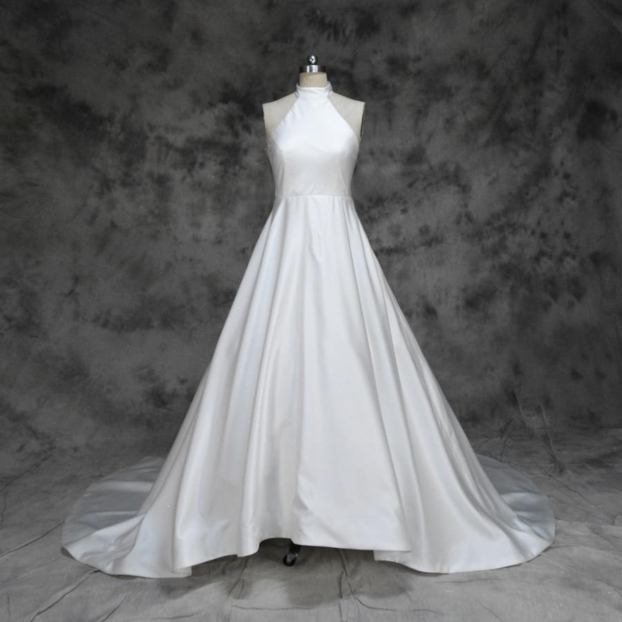 2019 New Design Simple Satin Wedding Dress Front Short