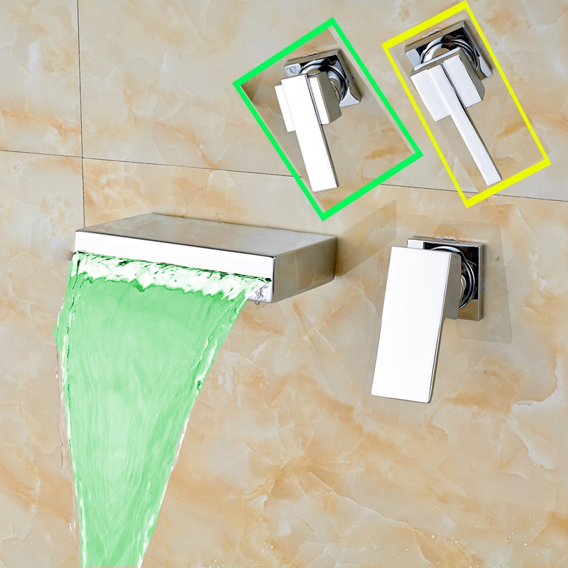 Uythner LED Color Changing Single Handle Wall Mounted Bathroom Sink Faucet Hot And Cold Tap