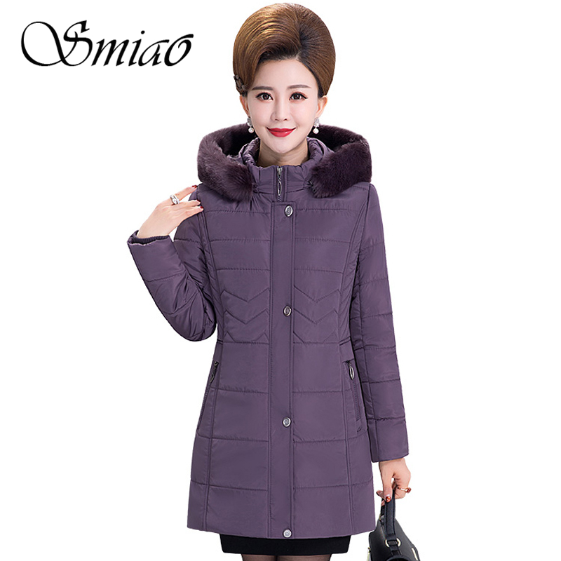 95b3adf3d3e Smiao 2018 толстый теплый меховой воротник женская зимняя куртка большой  размер Длинная с капюшоном парка с хлопковой подкладкой тонкое зимнее .