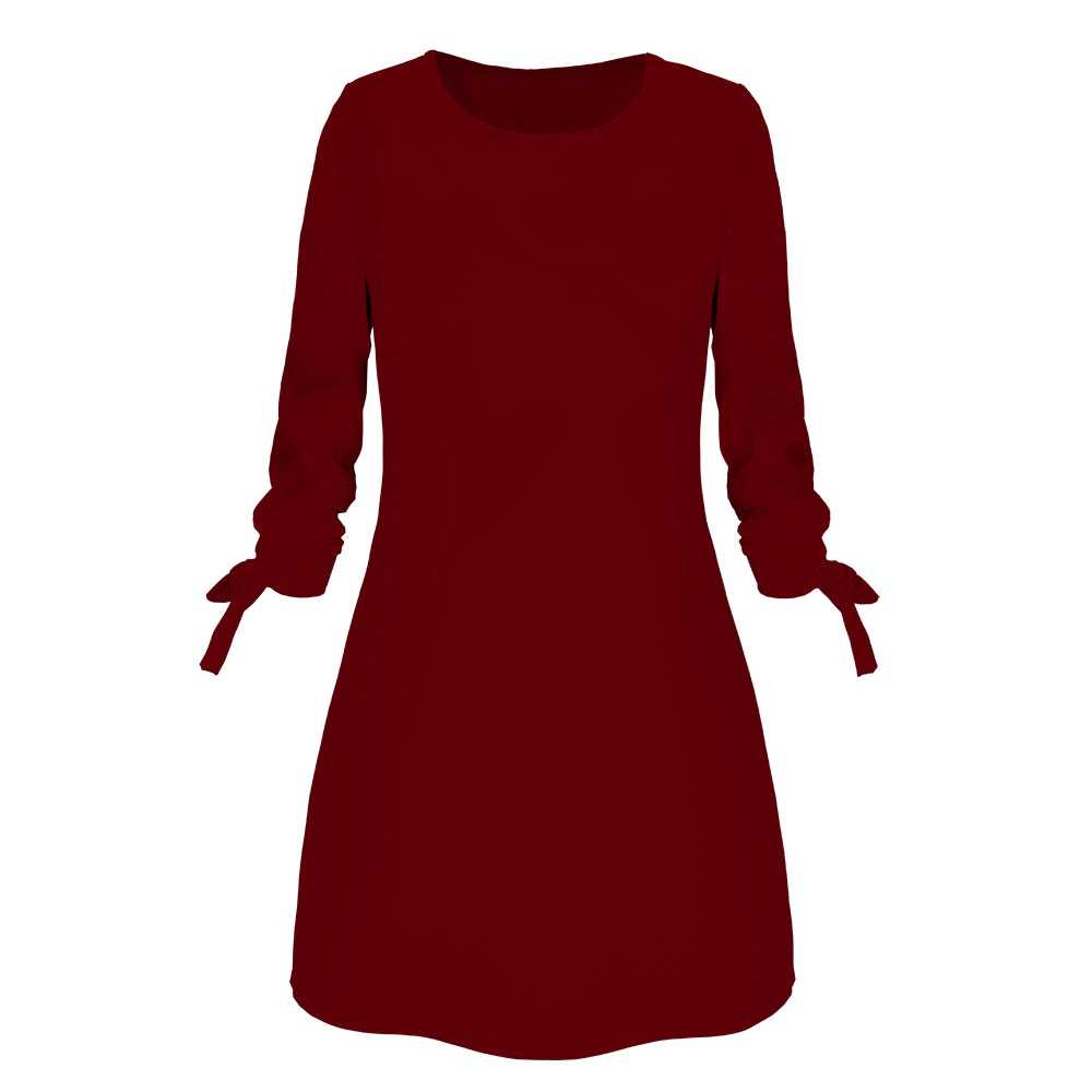 5ab2477215 2019 Spring New Fashion Solid Color Dress Casual O-Neck Loose Dresses 3/4  Sleeve Bow Elegant Beach Female Vestidos Plus Size