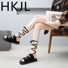 HKJL Sandal lady 2019 summer new all-in-one super hot strap flat shoes Korean version casual beach gladiator A373