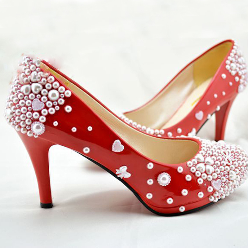 Free Shipping New Red Pearl Wedding Bridal Shoes Nice Bowtie Dress Party Prom Anniversary In Women S Pumps From On