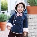 2016 3-7 t único breasted bowknot crianças roupas de bebê casaco para baixo jaqueta de inverno para meninas parka crianças acolchoadas roupas cor de rosa azul