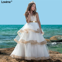Noble A Line Flower Girl Dresses For Weddings Long Sleeves First Communion Dresses Girls Pageant Dress 2018 With Sexy Gold Sash