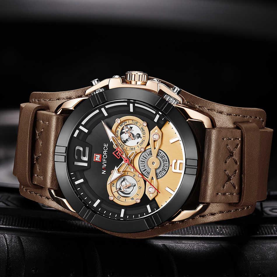 Reloj NAVIFORCE para hombre, relojes de cuarzo de cuero para hombre, marca de lujo, 30 M, reloj deportivo impermeable, reloj Masculino, marrón, nuevo