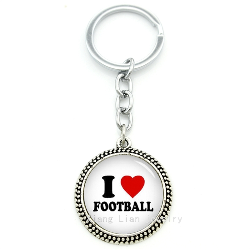 Прекрасно и романтично Jewelry брелок я люблю футбол красное сердце подвеска брелок ювелирные изделия стекло кабошон подарок ко Дню Святого Ва...
