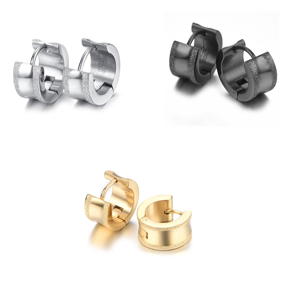 Stainless Steel Matted Mens Earrings KE1004
