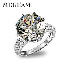 Plateó el anillo de plata Grande de Cristal Austriaco con 8 Carat AAA Circón boda las mujeres anillos de la joyería LSR064