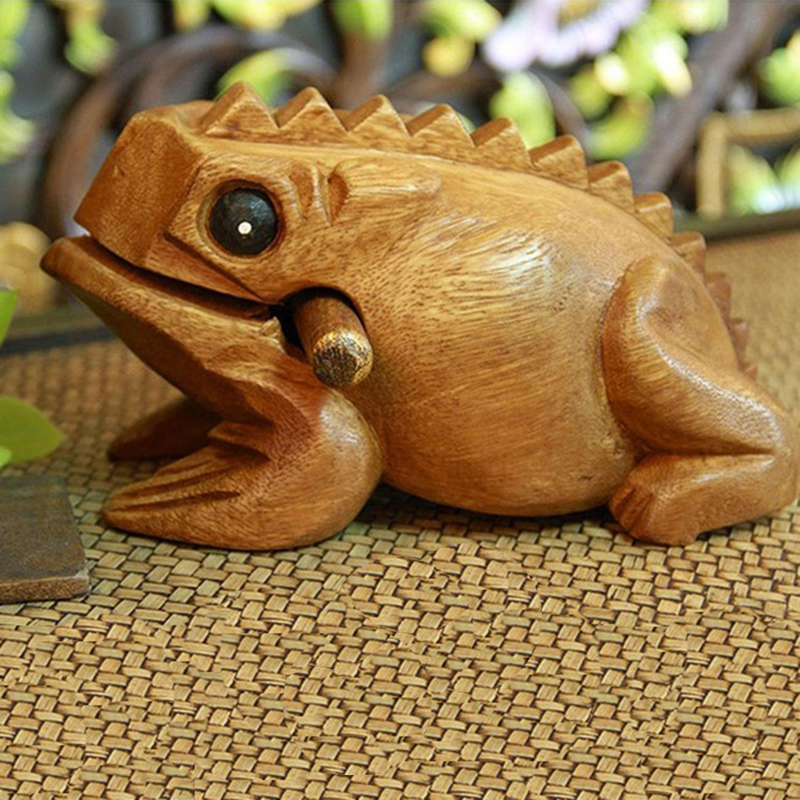 MMFC-Carved Croaking Wood Percussion Musical Sound Wood Frog Tone Block Toy