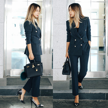 Women's Work Pant Suits OL 2 Piece Sets Double Breasted Striped Blazer Jacket & Zipper Trousers Suit For Women Outfits Feminino 1