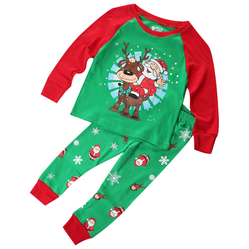 2017 Christmas Children Kids Boy Pyjamas Pjs Set Baby Kid Green Sleepwear Xmas Santas Clothing Set 1-7Y