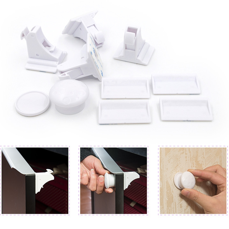 4Pcs Invisible Baby Safety Magnetic Kids Child Proof Cupboard Drawer Latch Lock