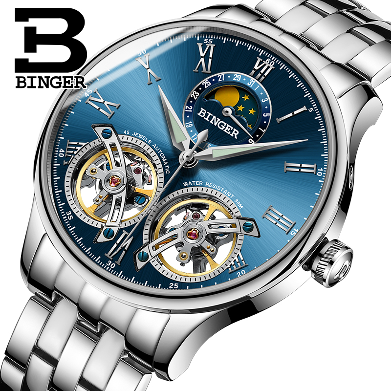 2017 Switzerland Mechanical Men Watches Binger Role Luxury Brand Skeleton Wrist Sapphire Waterproof Watch Men Clock Male3 switzerland mechanical men watches binger luxury brand skeleton wrist waterproof watch men sapphire male reloj hombre b1175g 3