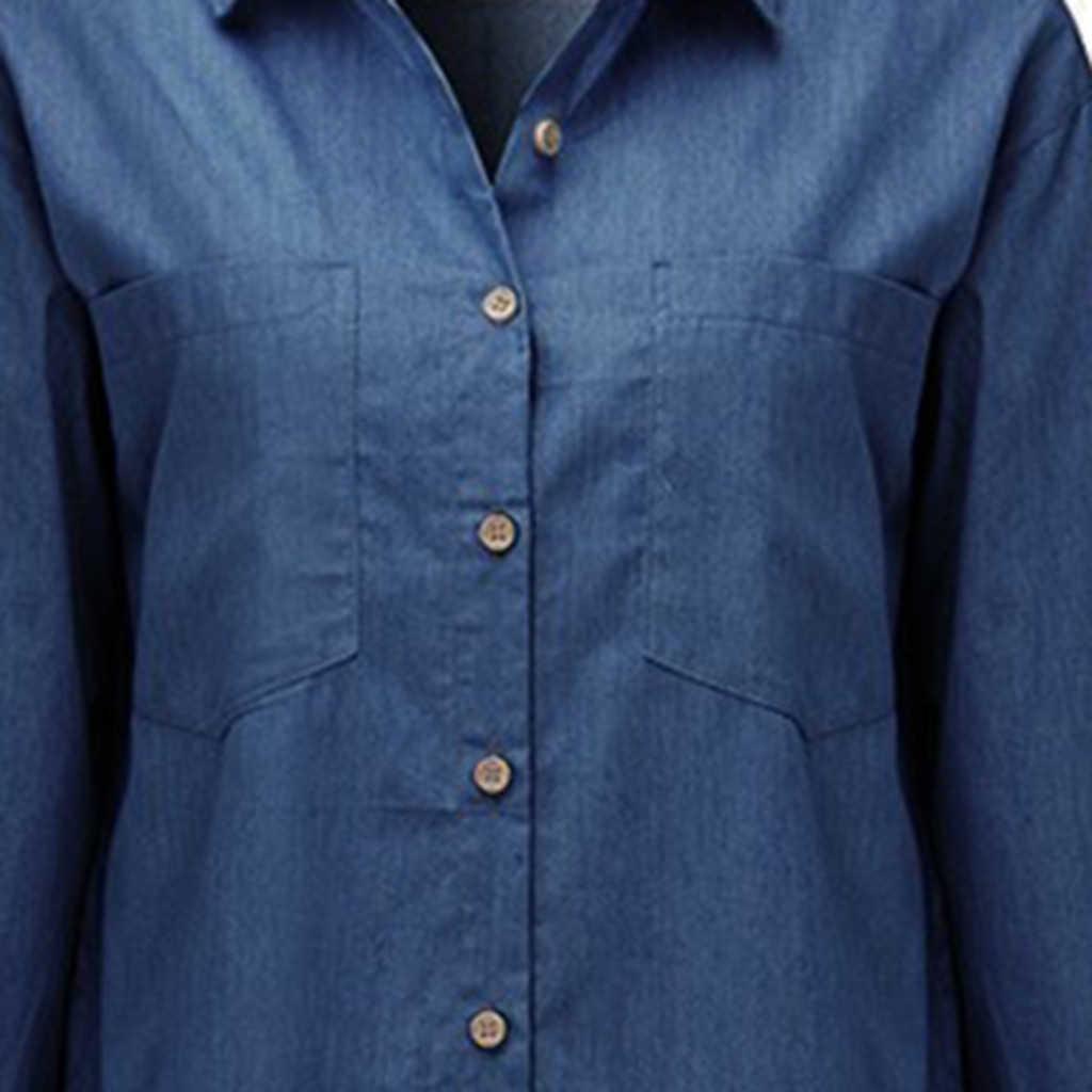 الجديد 2019 المرأة الصيف عادية فساتين من الجينز جيوب أنيقة كاوبوي موضة المرأة Feminino مثير سيدة سليم قميص فستان جينز #3
