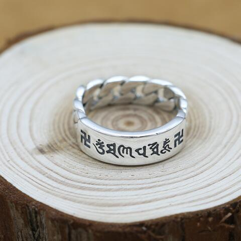 NEW 100% 925 Silver Tibetan OM Mantra Ring Thai Silver Buddhist Words Ring Real Pure Silver Tibetan Six Words Proverb Ring s925 sterling silver vintage six buddhist mantra rotating personality ring ring and old thai silver jewelry
