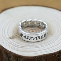 NEW 100 925 Silver Tibetan OM Mantra Ring Thai Silver Buddhist Words Ring Real Pure Silver