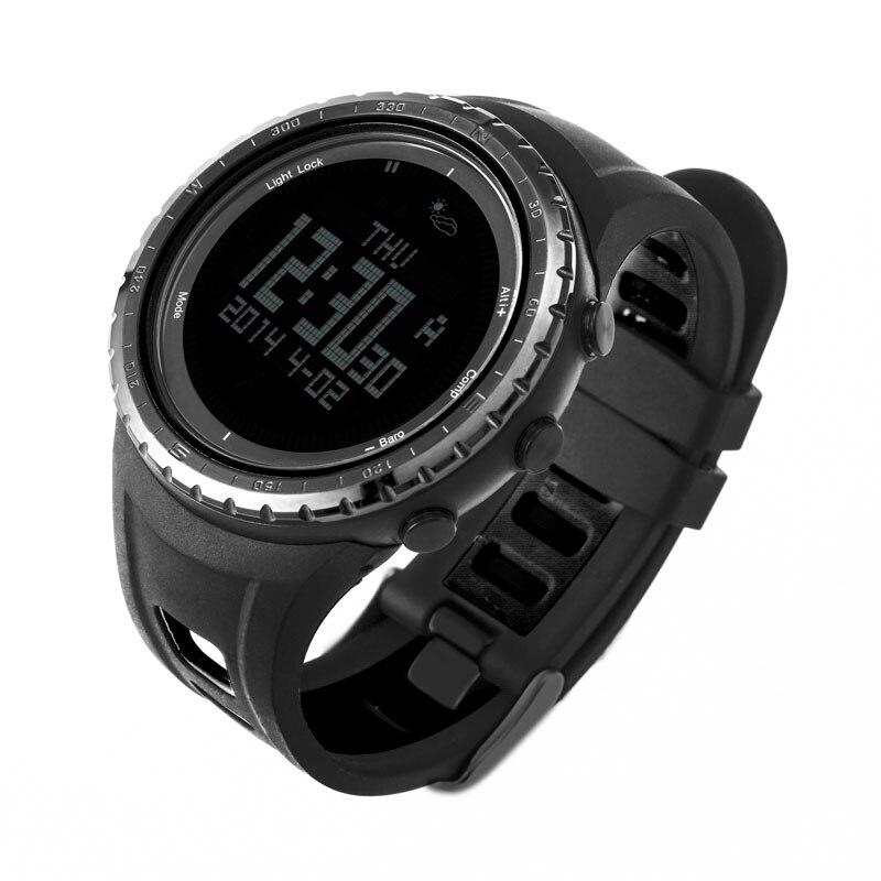 Saatler'ten Dijital Saatler'de SUNROAD Dijital Erkekler Spor Watches 5ATM Su Geçirmez Altimetre Pusula Kadın Barometre Saat spor saat Siyah Reloj mujer'da  Grup 3